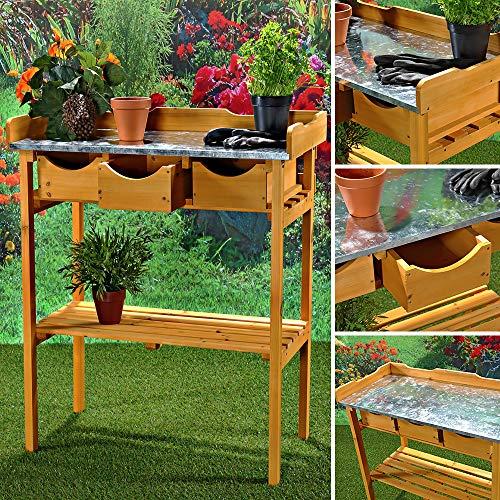 Melko Gartenarbeitstisch Gartentisch Pflanzentisch mit DREI Schubladen im Landhausstil aus Fichtenholz für den Außenbereich, 80 x 40 x 82 cm, Honigton