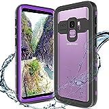 XBK Samsung Galaxy S9Fall, Wasserdichte Schutzhülle mit Integriertem Displayschutz, Ganzkörper-Rugged Wasserdichte Schutzhülle Hard Cover Case für Galaxy S9(2018), Purple Clear Back