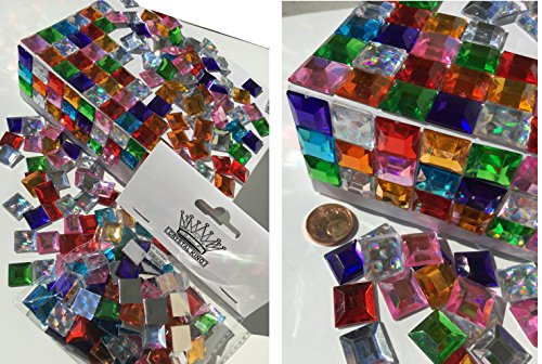 Pack of 200mm Self-Adhesive Glitter Colourful Rainbow Mosaic Pieces Colourful Mix Decorative Rhinestone Square Acrylic Stones Opal Effect Laser Optics Rainbow Bead Clear Crystal Craft Gems Gltzer Earr for Decorating King