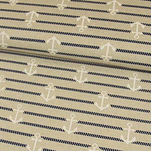 Dekostoff Leinenoptik Anker beige maritim Canvas - Preis gilt für 0,5 Meter - (Polyester-canvas-tasche)