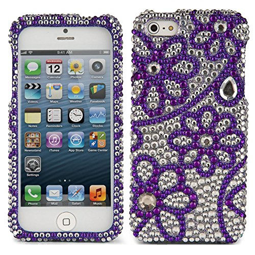 VanGoddy Purple Hearts Party Wear Rhinestones Full Diamond Back Cover Case for Apple iPhone 5/5S  available at amazon for Rs.99