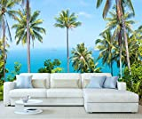 StickersWall Relaxing Tropical Tall Palm Trees Ocean Nature Landscape Scenery Wall Mural Photo Wallpaper Picture Self Adhesive 1016 (228cm(W) x 161cm(H))