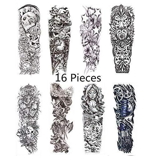 Jiaxingo 20 Blatt Full Arm temporäre Tätowierung Aufkleber schwarz wasserdicht Tattoo Body Aufkleber für Männer Frauen (Körper Halloween-kostüme Voller)
