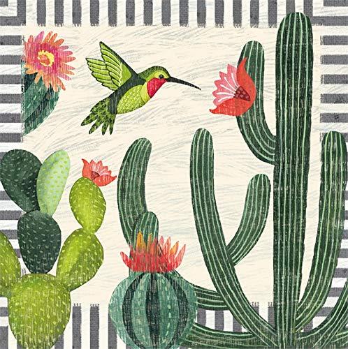 Cypress Home Busy Cactus Papierservietten, 40 Stück