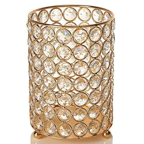 VINCIGANT Redondo Candelabros de Cristal / Cute Flor de Metal Stand para regalos de aniversario (Round 16cm, Gold)