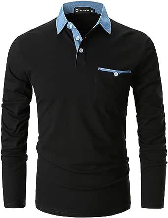 GHYUGR Men's Long Sleeve Polos Casual Tops Denim Splice Golf T-Shirt Poloshirts