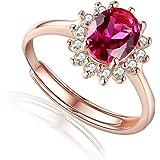 Aiuin - Anello in oro rosa con strass rossi, regolabile, in argento, da donna e ragazza, elegante e alla moda, stile nuovo, a