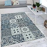 Paco Home Wohnzimmer Teppich Orient Muster Indigo Blau Weiß Grau Kurzflor Eyecatcher, Grösse:60x100 cm