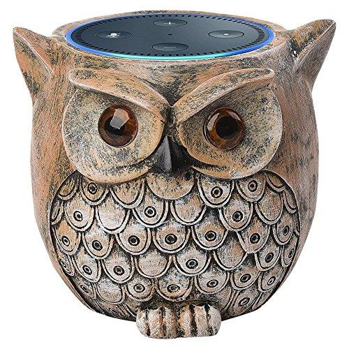 ANTS Lautsprecher Stand Case für Amazon Echo Dot (2. oder 1. Generation). Alexa Echo Dots Owl Statue Handarbeit Wachposten (Braun)