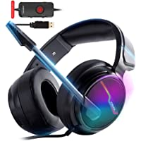 XIBERIA V20 Cuffie USB PS4 per connessione host, 7.1 Surround Sound PC Gaming Headset con cavo da 1,95 metri e microfono con cancellazione del rumore per laptop, computer, Mac e Macbook con luce RGB
