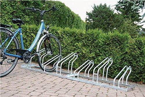 EUROKRAFT Fahrradständer, Bügel aus Stahlrohr, Radeinstellung einseitig - 4 Stellplätze - Bügelparker Einzelständer - Fahrradständer Hinten