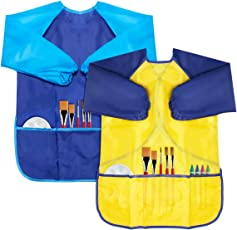 CIEHER 2 Pack Kids Art Apron, Waterproof Children Art Smock For Kids Artist Painting Long Sleeve For Ages 2-6, 2 Multi Colors
