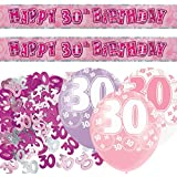 Pink Silver Girl Glitz 30th Birthday Banner Party Decoration Pack Kit Set