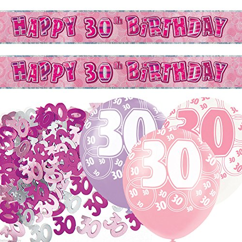 Pink Silver Girl Glitz 30th Birthday Banner Party Decoration Pack Kit