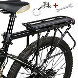 West Biking, portapacchi da bici, capacità 140,6kg, solido cuscinetto universale regolabile, con poggiapiedi, Bambino, Nero