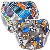 Teamoy 2-teilig Baby Schwimmhose Badewindelhose Badehose (Multi Stripes+ Balls)