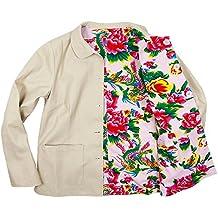 """Chaqueta reversible """"peonías en algodón beige/rosa"""