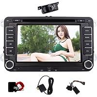 Caméra de recul + 8 Go Carte européenne Carte comme cadeau, Double 2 Din GPS stéréo de voiture 7 pouces écran tactile numérique Wince Système lecteur DVD de voiture Dash GPS Navigaiton USB / SD FM