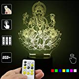 Lampees™ 3D Illusion LED Lamp Ganapathy Ganesh with 7 colors change and Flashing Effect also comes with remote and USB cable can also use with AA size batteries