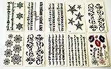 wolga-kreativ Tattoo Set 10 Bogen wie Hauptbild arabische Zeichen Schriftzug Stern temporäre Tattoos (temporäre Transferfolie, hautfreundlich)