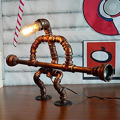 BZJBOY Lampada da Scrivania Sollevamento pesi Robot industriale epoca battuto tubi di acqua di ferro Lampada da tavolo camera da letto soggiorno dimmerabile fatta a mano Lampada da comodino Lampada da tavolo Light Desk