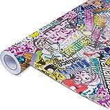 50x150cm Stickerbomb Auto Folie Glänzend - Sticker Logo Bomb - JDM Aufkleber - Design: HF