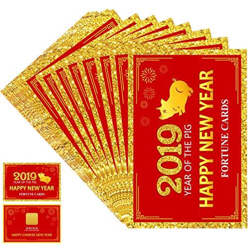 Frienda 24 Stück 2019 Chinesisch Neujahr Reichtum Karten, Jahr des Schweins Party Kratzen aus Reichtum Spiele, Laminierte Reichtum Teller Karten