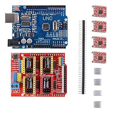 3D Printer Kit mit CNC-Schild V3.0 + UNO R3 Board Mit USB-Kabel+ 4pcs A4988 Schrittmotor-Treiber mit Heatsink für 3D-Drucker