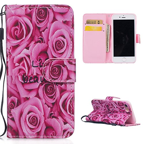 Casefirst iPhone 7 Flip Cover, Case, Backcover Card Slot [Stand Feature] Leather Wallet Case Vintage Book Style Magnetic Protective Cover Holder for iPhone 7 - Rose Magnetic Wallet Case
