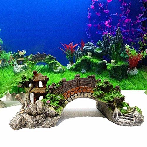 owikar Aquarium Decor Harz Steingarten Brücke mit farbigen Simulation Pavilion Bäume Blumen für Fische Tank Ornaments Künstliche Landschaft Dekoration kleine Größe