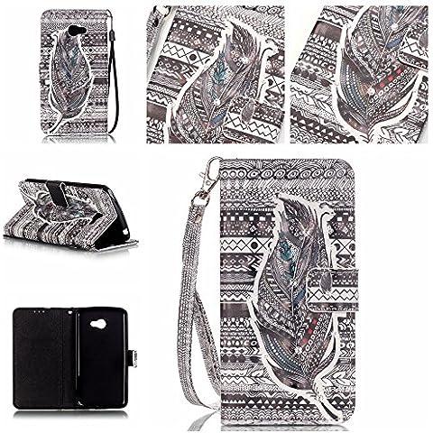 Cozy Hut Shinning Strass Diamante Custodia portafoglio / wallet / libro in pelle per LG K5 - Custodia flip cover in Design Feather Tribal con scompartimento tessere e funzione supporto in nero bianco - Feather