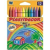 BIC Kids Plastidecor - Pack de 12 ceras para colorear