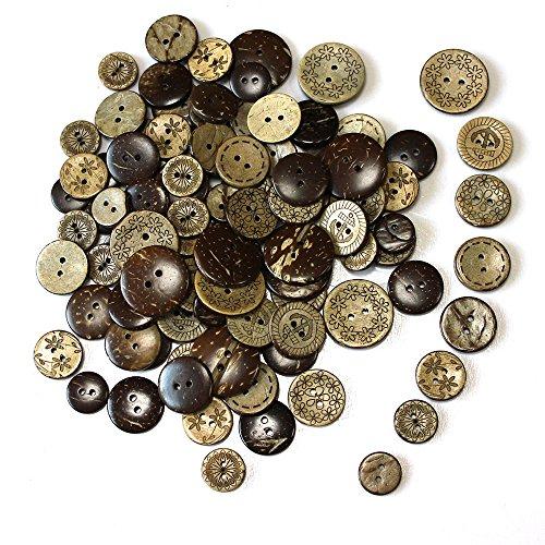 knowing 100 Stuck Holzknöpfe Kokosknöpfe,DIY Buttons für Nähen und Handwerk,Für Hemd-Baby-Strickjacken, Brown, 8 Stil (1) (Verschiedene Arten Von Trachten)