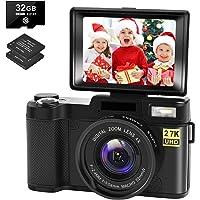 Digital Camera Vlogging Camera 30MP 2.7K Full HD Compact Camera with 180 Degree Flip…