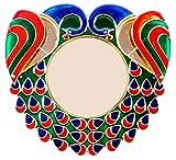 #5: Bombay Haat Big Size Designer Peacock Pooja Thali / Rakhi Platter / Engagement Ring Platter // Tilak Thali with 2 attached Kumkum Holders