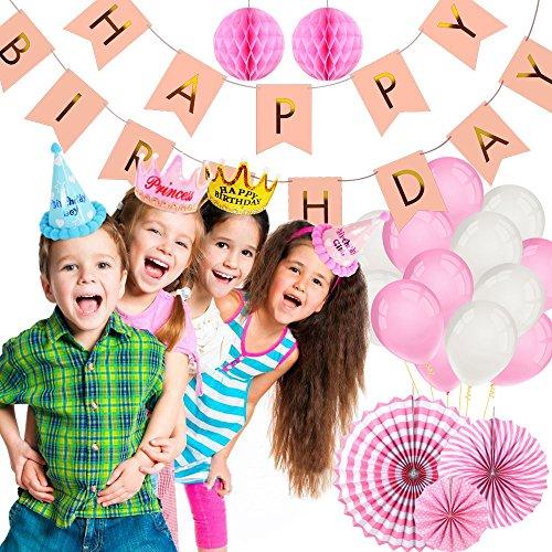 – Foonii Banner Compleanno Buon Compleanno, Happy Birthday, Festa di Compleanno Set, Di Artigianato di Carta per Decorazioni di Fai da te per Compleanno Decorazioni Party Festa – Rosa comprare on line