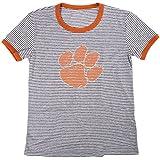 Blue 84 NCAA Clemson Tigers Women's Tri-Blend Retro Stripe Ringer Shirt, Medium, Orange