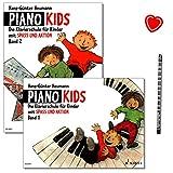 Piano Kids Band 1 und 2 - Klavierschule von Hans-Günter Heumann - Zwei Lehrbücher mit herzförmiger Notenklammer und Piano-Bleistift