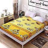 huyiming Einzelstück Baumwolle Kinder Cartoon 1,2 m Anti-Rutsch-Bett Trampolin Abdeckung Baumwolle 1,5 m 1,8 dünne Matte Schutzhülle 90X190 + 15
