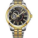 BUREI - Reloj de Pulsera para Hombre, clásico, analógico, automático, Resistente a los arañazos, Cristal Mineral con Correa de Acero Inoxidable