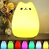 CHWARES Portable LED Enfants Veilleuse enfants Multicolor lampe de chat en silicone, blanc chaud et 7 couleurs respiration, R