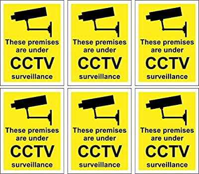 6 x CCTV Signs Self Adhesive 100mm x 75mm Suitable for Outdoor Use : everything 5 pounds (or less!)