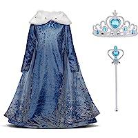 URAQT Elsa Vestito Set, Abito da Principessa per la Festa Invernale, Costume con Colletto in Peluche per 2-3 Anni