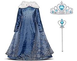 URAQT Elsa Vestito Set, Abito da Principessa per la Festa Invernale, Costume con Colletto in Peluche per 4-5 Anni