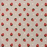 Gardinenstoff Dekostoff Erdbeere Blume natur rot grün