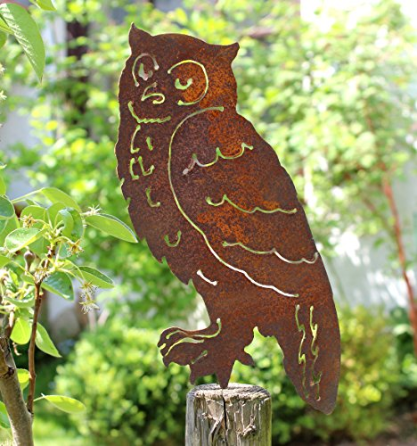 Nostalgic Garden Gartendeko Gartenstecker Eule zum Stecken Edelrost Baumstamm Rost Deko Design Uhu - PO