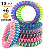 Mosquito Repellent Bracelet's, DOUBLED coloured Insect repellent bands! 16 or 10 Pack Pest Control Repeller up to 200+ Hrs of Insect Protection with each bracelet, Outdoor & Indoor, Wrist Bands for Adults & Kids -No Spray, Deet-free - All Natural Plant Oils (10)