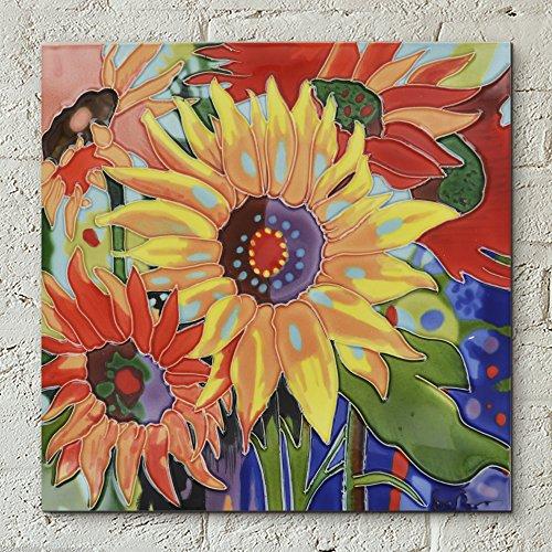 Sonnenblumen von Simon Bull Deko Keramik Bild Fliese 12x 12Blumen Home Decor Küche Wandschild Geschenk Floral -