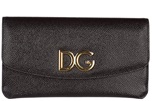 Dolce&Gabbana Damen Geldbörse Portemonnaie Echtleder Geldbeutel Bifold Schwarz (& Dolce Damen-geldbörsen Gabbana)
