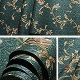 Reyqing American Retro Stil Tapete, Pastorale Tief Geprägte Schlafzimmer, Wohnzimmer Wallpaper Three-Dimensional, Dunkelgrün 812-5, Tapeten Nur